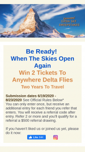 Tripmasters – Open Sky – Win Round trip tickets to anywhere Delta Airlines flies