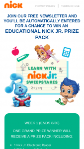 Viacom – Learn With Nick Jr August 2020 Sweepstakes