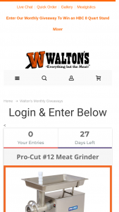 Walton's – August Giveaway Sweepstakes