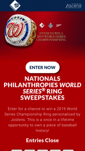 Washington Nationals – World Series Ring – Win one (1) tier-one Washington Nationals World Series Ring from the 2019 World Series