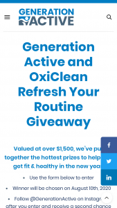 Zoom Media – 2020 Generation Active & Oxiclean Refresh Your Routine Giveaway – Win package of OxiClean products