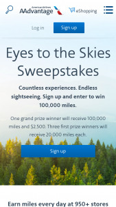 American Airlines – Eyes To The Skies – Win AAdvantage® miles will be credited to the AAdvantage® account of the winner