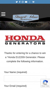 American Honda Motor Co – Honda Generators – Win prize consists of (1) EU2200i Honda Generator Meet & Greet via zoom meeting with Stewart Haas driver