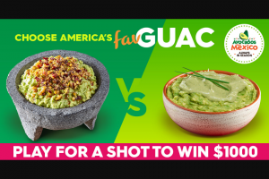 Avocados From Mexico – Choosing America's Favorite Guac – Win The grand prize is $1000.
