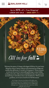 Balsam Hill – All In For Fall Sweepstakes