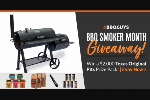 Bbqguys – Bbq Smoker Month Giveaway – Win Pack Includes A Texas Original Pits Offset Smoker RETURNING THIS FALL