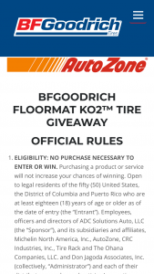 Bfgoodrich – Floormat Ko2 Tire Giveaway – Win set of KO2TM All Terrain Tires and a $300 check made payable to the winner to be used to help defray any tax liability (ARV up to $1300 each).