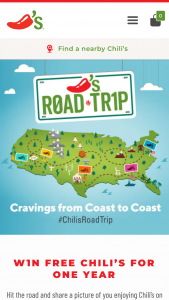 Chili's – Road Trip Contest – Win (52) $50 Chili's gift card