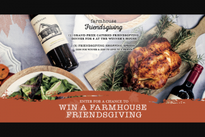 Cline Family Cellars – Farmhouse Friendsgiving – Win one (1) chef-catered dinner for six (6) people at the winner's home