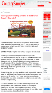 Country Sampler – Autumn In New England – Win $800 cash prize to be used for travel or additional expenses while on trip