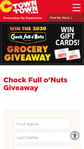 C-Town Supermarkets – Chock Full Of Nuts – Win Store gift card