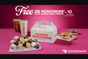 Doordash – Dunkin' Giveaway – Win the following prize A $100 value DoorDash Gift Card Total ARV $4900.
