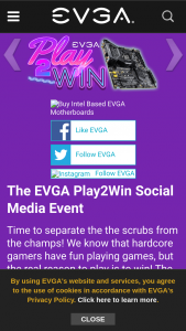 EVGA – Play2win Social Media Event 2020 Sweepstakes