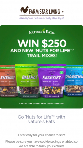 Farm Star Living – Go Nuts For Life With Nature's Eats Sweepstakes