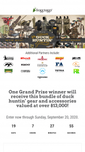Frogg Toggs – 2020 Waterfowl Giveaway – Win frogg toggs Grand Refuge 2.0 Hunting Wader in Realtree MAX-5 Pilot II Waterfowl Jacket in Realtree MAX-5 Co-Pilot Insulated zip-in/zip-out liner