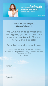 Frontier Airlines – #loveorlando – Win the following Four roundtrip Frontier Airlines Tickets (ARV $1000) In the form of four Frontier Airlines voucher valid for $250 each