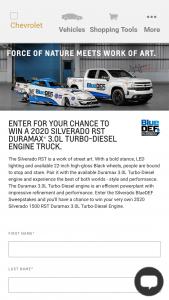 General Motors – Chevy Portal 2020 – Win one 2020 SILVERADO RST DURAMAX 3.0 TURBO-DIESEL ENGINE (MSRP $61380).