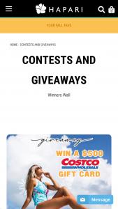 Hapari – Costco Gift Card Giveaway – Win $150 HAPARI Credit 3rd Prize $100 HAPARI Credit