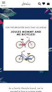Joules USA – Adult And Child Bicycle Prize Draw 2020 – Win Joules Adult and child floral wrapped bicycle