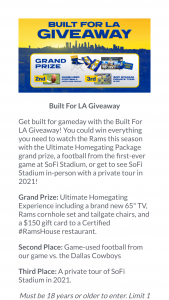 """Los Angeles Rams – Built For La Rams House Giveaway – Win one Rams Ultimate Home Gating Package consisting of one Samsung 65"""" TV"""