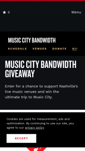 Nashville Convention & Visitors Corp – Music City Bandwidth Giveaway Sweepstakes