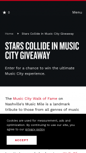 Nashville Convention & Visitors Corp – Stars Collide In Music City Giveaway Sweepstakes