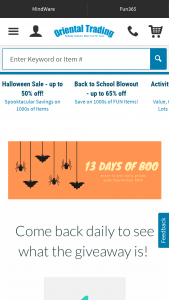 Oriental Trading Company – 13 Days Of Boo Halloween Giveaway Sweepstakes