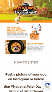 """Petmate – Chuckit National Fetch Day – Win (200) """"Backyard Party Packs"""" (1) Grand Prize $500 SPA GIFT CERTIFICATE FOR A PET SPA OR GROOMING FACILITY AND $1500.00 Photo Shoot for Dog of Winner"""