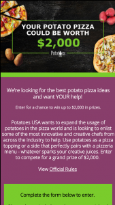 Potatoes USA – Potatoes & Pizza Chef Challenge Contest – Limited Entry Sweepstakes