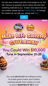Quadra Productions Wheel Of Fortune – Make Life Sweeter Giveaway – Win Each daily sweepstakes prize consists of $10000 USD awarded in the form of a check made out in the name of each winner