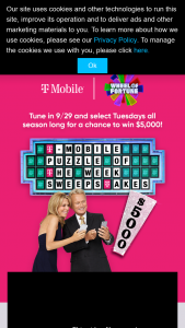 Quadra – Wheel Of Fortune T-Mobile Puzzle Of The Week – Win of $5000 awarded in the form of a check made out in the name of each winner