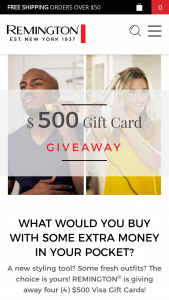 Remington – Gift Card Giveaway – Win one prepaid Debit/Gift Card in the amount of $500 USD which will be shipped no later than (8) weeks after the selection and verification of the winners