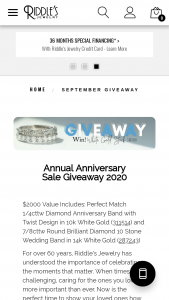 Riddle's Jewelry – Annual Anniversary Sale Giveaway 2020 Sweepstakes