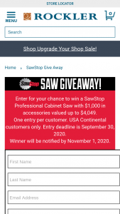 """Rockler – Sawstop Saw Giveaway – Win (1) SawStop 3HP PCS with 36"""" fence and up to $1000 in SawStop accessories"""