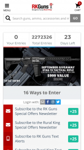 Rural King – September Stag Tactical 15 Giveaway – Win one Stag Arms Stag 15 Rifle with an ARV of $999.
