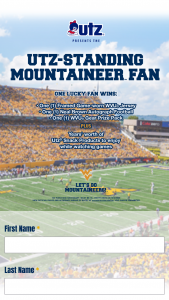 Utz – Standing Mountaineer Fan – Win Pack and One Years' Worth of Utz Snack Products to Enjoy While Watching Games