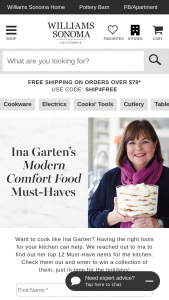 Williams Sonoma – Ina Garten's Modern Comfort Food Must-Haves Sweepstakes