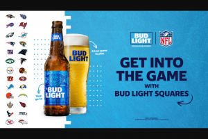 Anheuser-Busch Bud Light – Nfl Squares – Win one Bud Light NFL hat