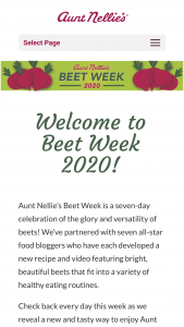 Aunt Nellie's – Beet Week 2020 Sweepstakes