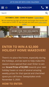 Blindscom – Home For The Holidays – Win Home Depot Gift Card (Approximate Retail Value $2000.00.