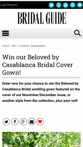 Bridal Guide – November/december 2020 Cover Gown Sweepstakes