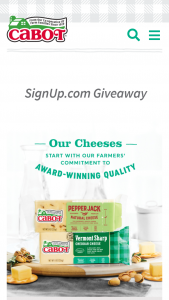 Cabot Creamery – Signupcom Giveaway – Win a gift box as a prize