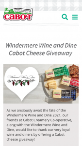 Cabot Creamery – Windermere Wine And Dine Cabot Cheese Giveaway – Win a gift box as a prize