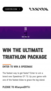 Canyon Bicycles – Ultimate Triathlon Package Sweepstakes