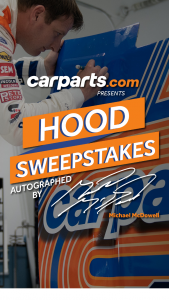 Carpartscom – Hood – Win a replica of the hood from the CarPartscom #34 Ford Mustang Cup Series Car at the Martinsville race on 11/1/2020 autographed by Michael McDowell