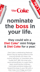 "Coca-Cola – Diet Coke ""national Boss's Day"" Sweepstakes"