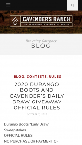 Durango Boots Cavender's – Daily Draw – Win a code valid for one pair of Durango Boots
