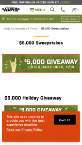 Extreme Terrain – $5000 Holiday – Win $1000.00 in credit to use for the purchase of any parts and accessories available at extremeterraincom