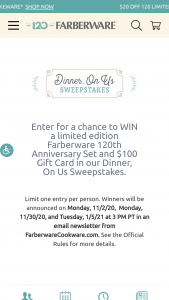 Farberware – Dinner On Us – Win 120th Anniversary 10-Piece Cookware Set and $100 gift card