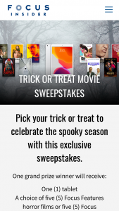 Focus Features – Trick Or Treat Movie – Win consist of one (1) Apple iPad pre-loaded with five (5) Focus Features films